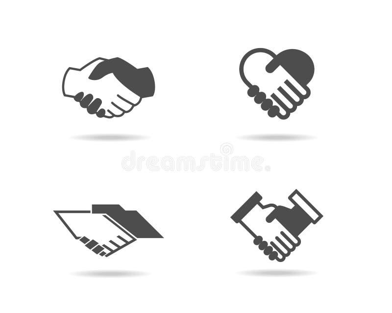 Ícones do aperto de mão ajustados ilustração do vetor