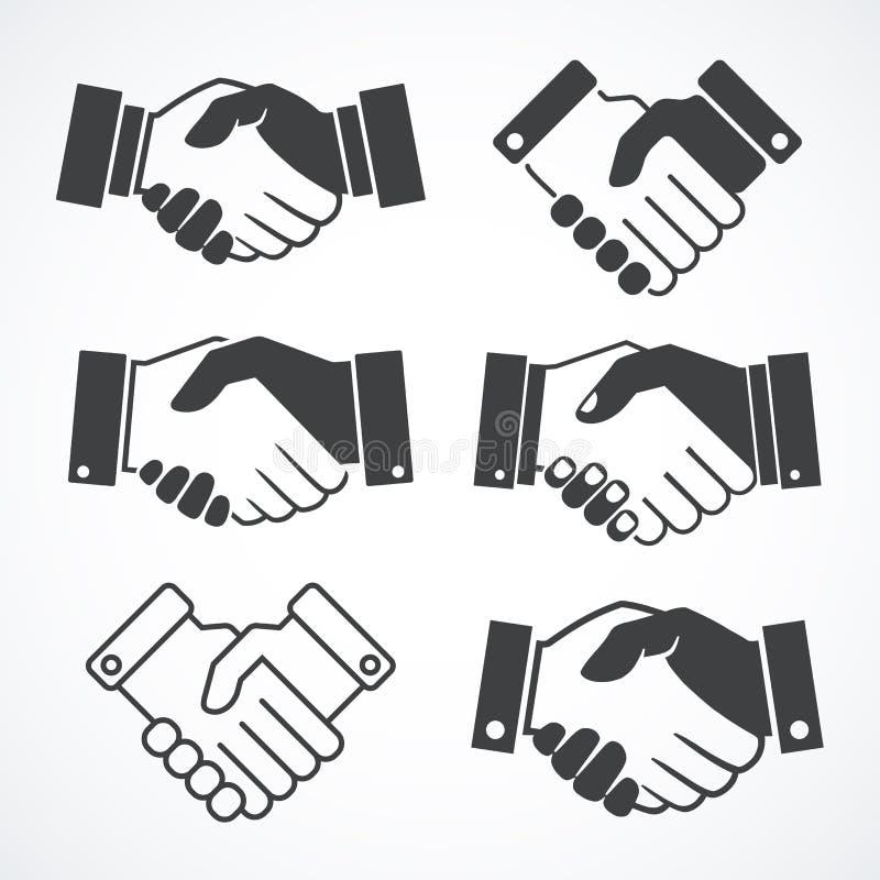 Ícones do aperto de mão Conceito do negócio e da finança ilustração stock