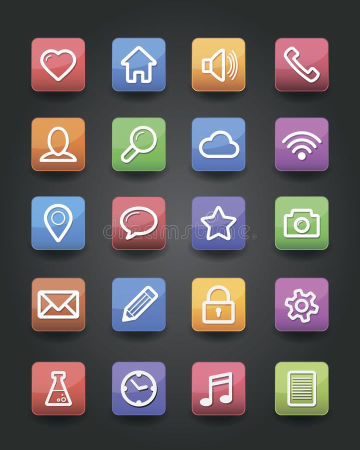 Ícones do App ilustração royalty free