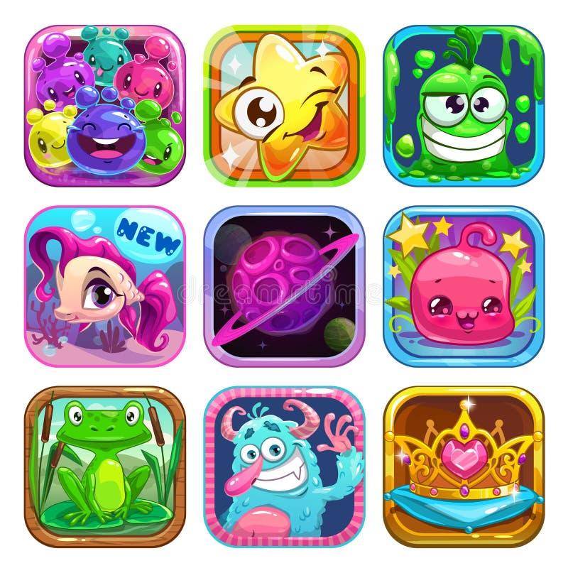 Ícones do App ajustados ilustração do vetor