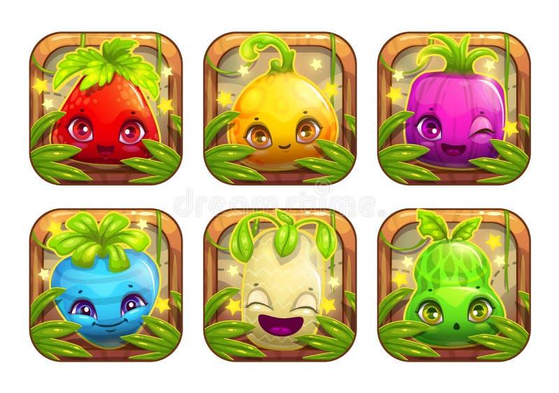 Ícones do App com os monstro bonitos da planta dos desenhos animados ilustração royalty free
