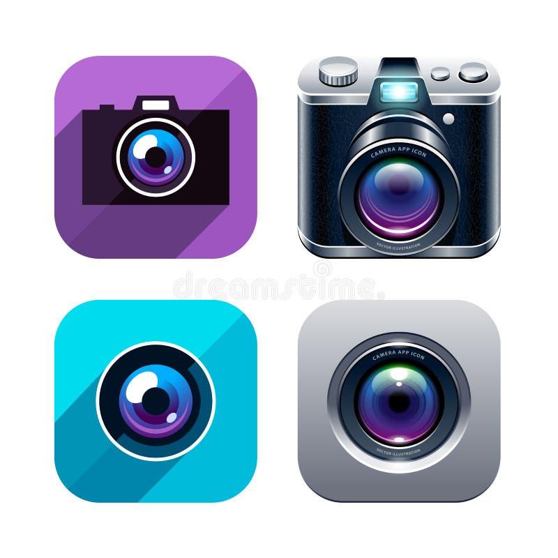 Ícones do app da foto ajustados ilustração do vetor
