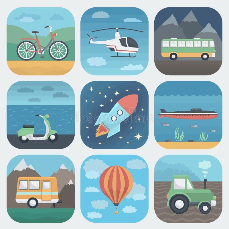 Ícones do App do transporte ajustados ilustração do vetor