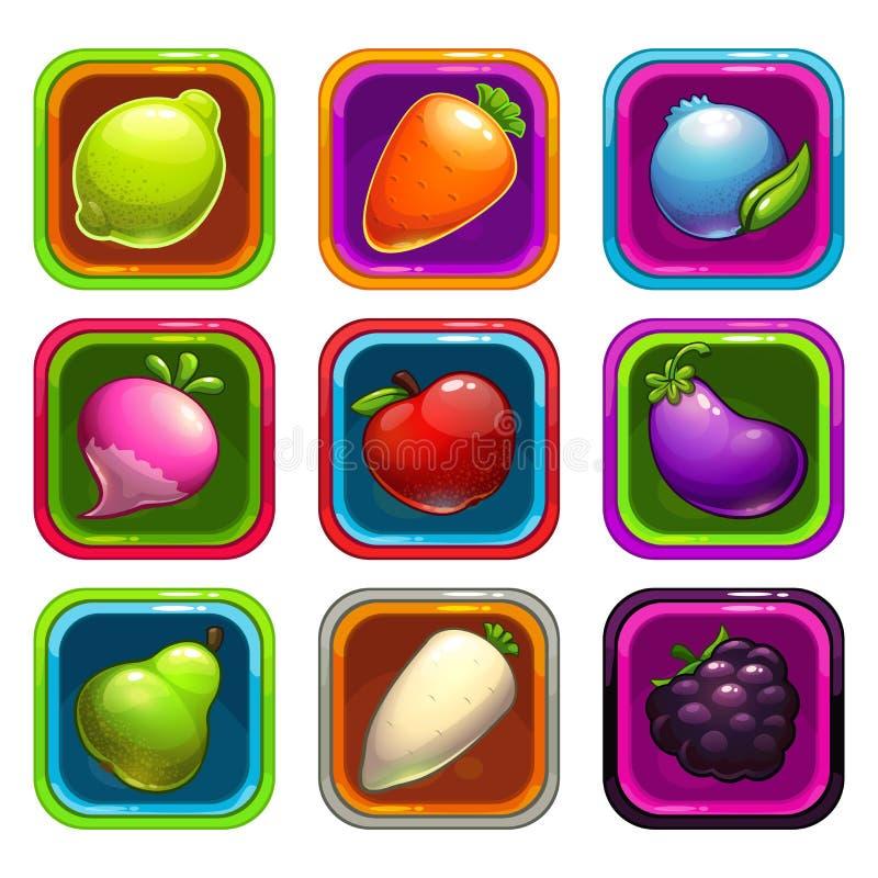Ícones do app dos desenhos animados com frutas e legumes ilustração stock