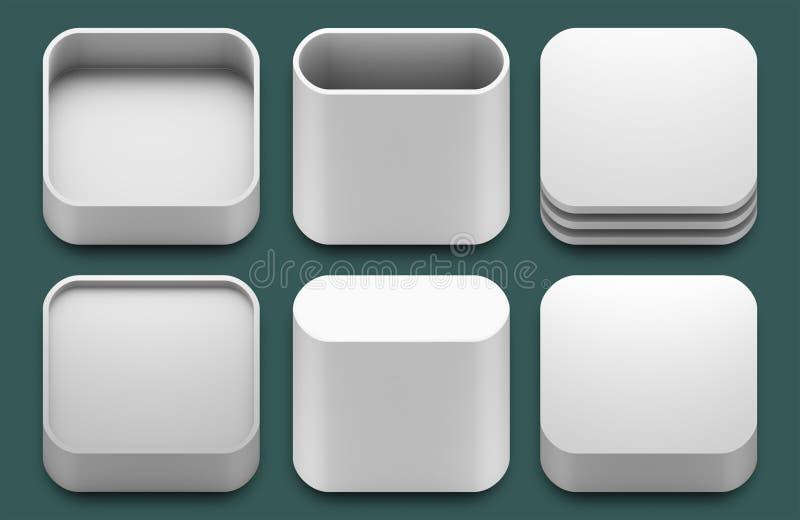 Ícones do App para aplicações do iphone e do ipad. ilustração stock