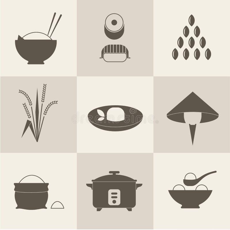 Ícones do arroz ilustração do vetor