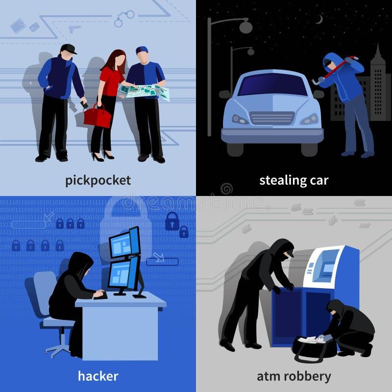 Ícones do assaltante 2x2 ajustados ilustração do vetor