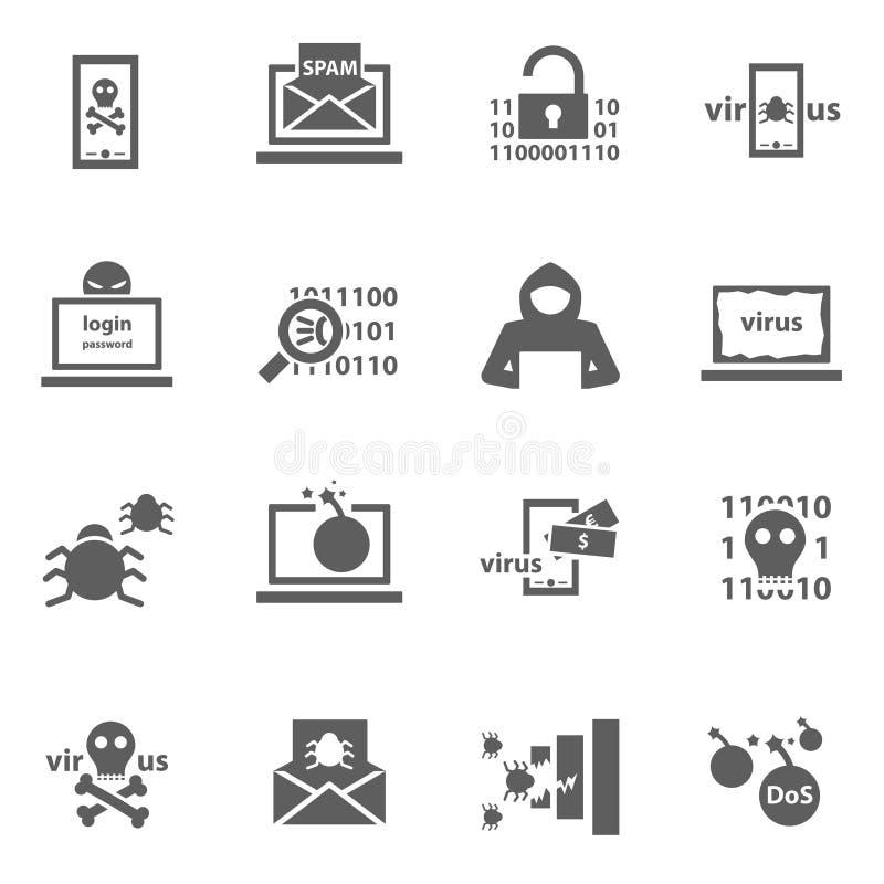 Ícones do ataque do hacker