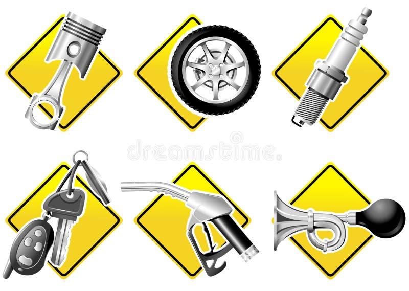 Ícones do automóvel e da competência ilustração stock
