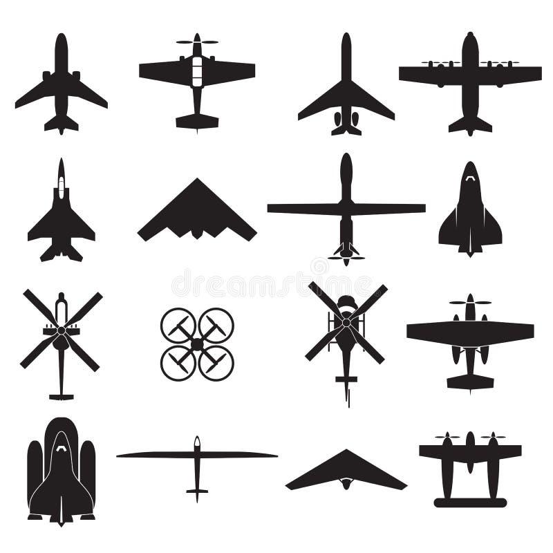 Ícones do avião ajustados ilustração stock