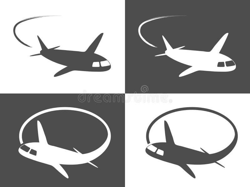 Ícones do avião, avião comercial cinzento e branco escuro, símbolos monocromáticos ilustração stock