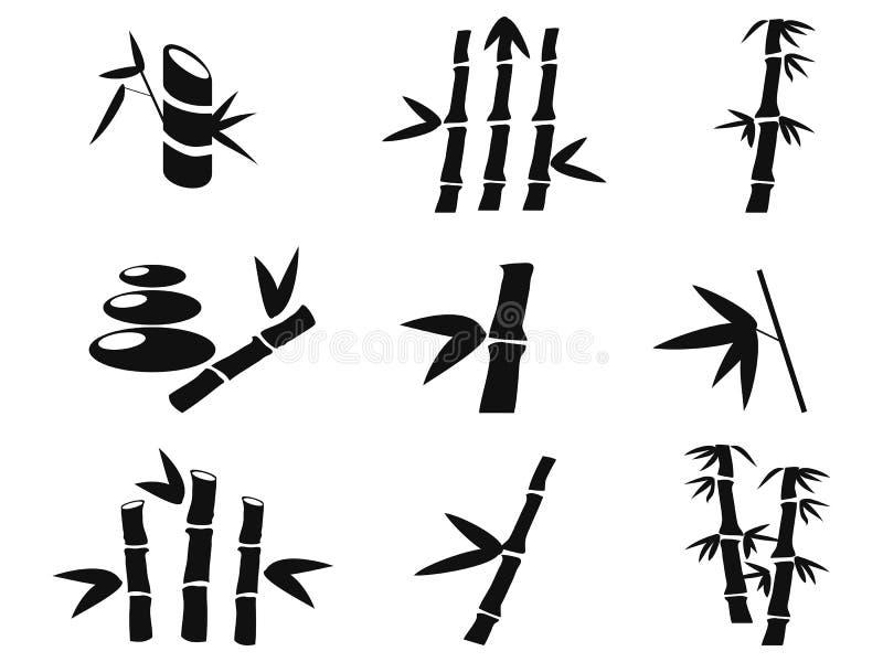 Ícones do bambu preto ilustração royalty free