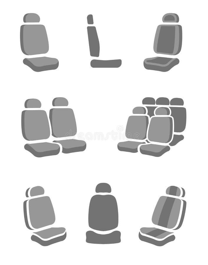 Ícones do banco de carro ilustração royalty free