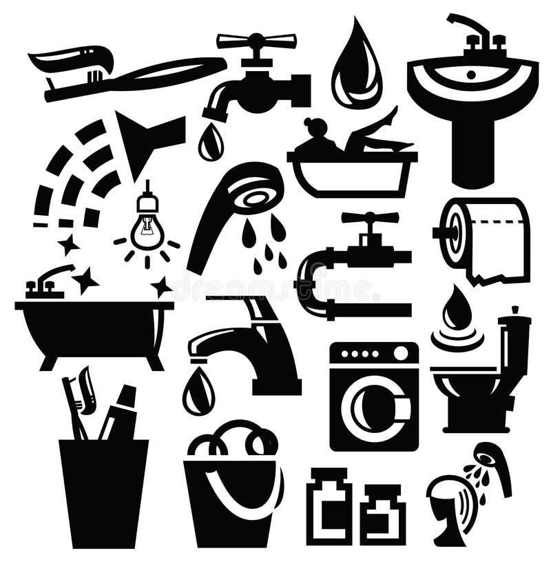 Ícones do banheiro ilustração stock