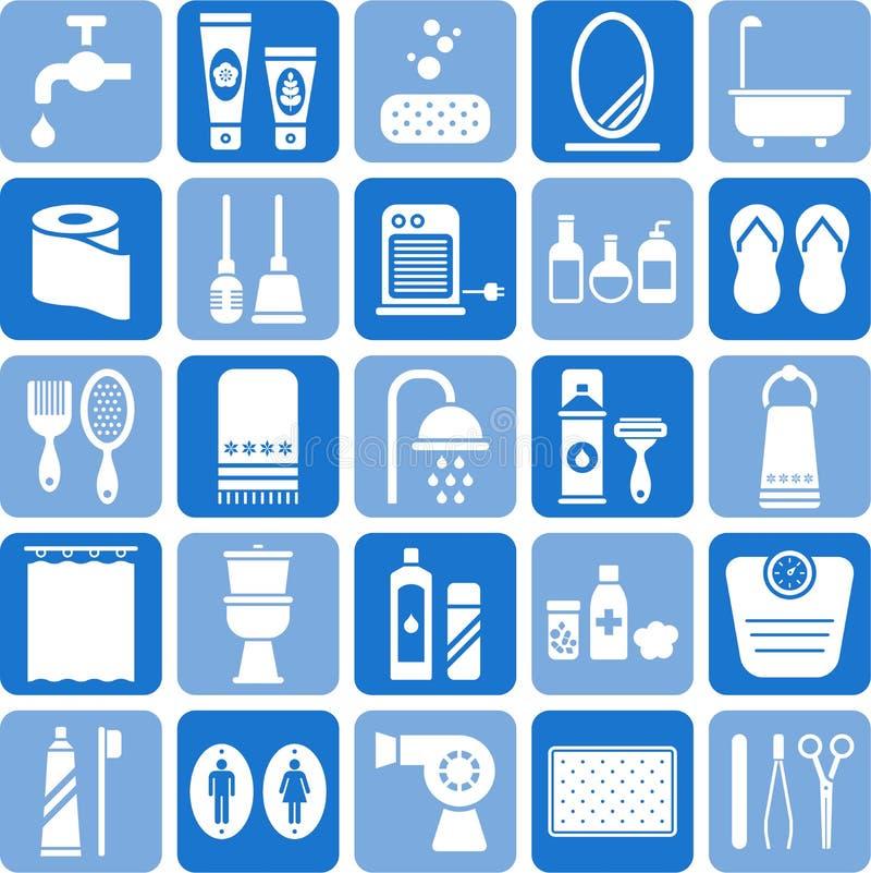 Ícones do banheiro ilustração do vetor
