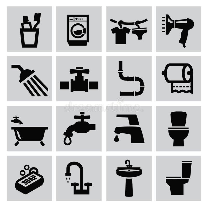 Ícones do banheiro ilustração royalty free