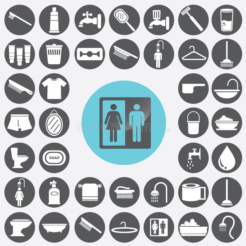 ícones do banheiro ajustados ilustração stock