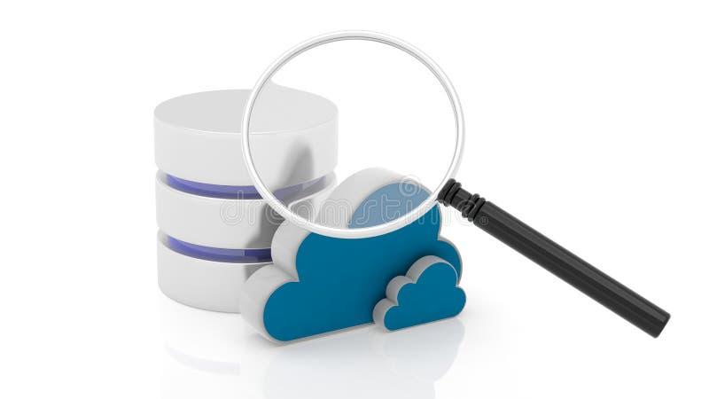 Ícones do base de dados, da nuvem e da lente de aumento ilustração do vetor