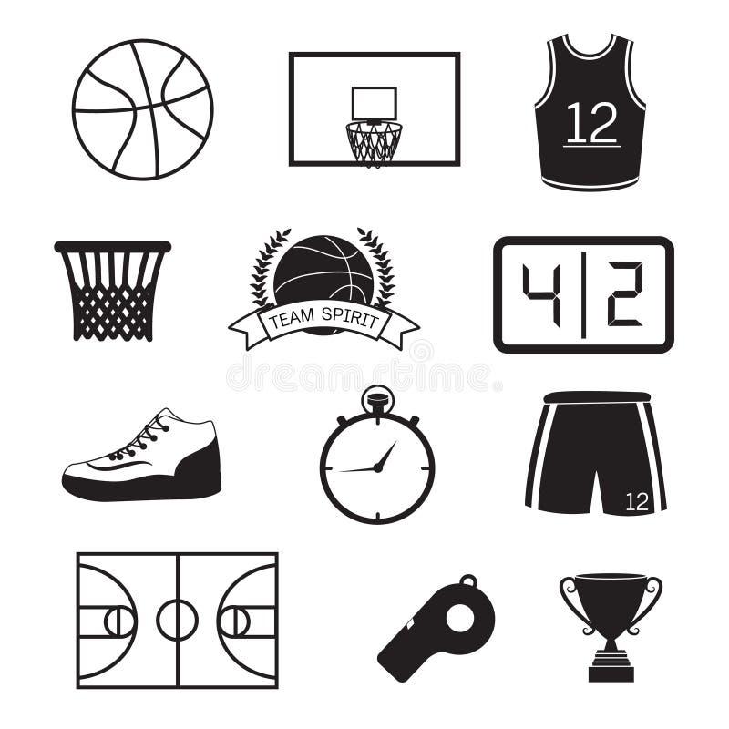 Ícones do basquetebol ajustados ilustração stock