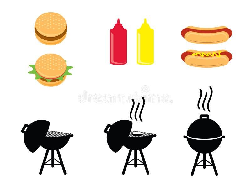 Ícones do BBQ foto de stock