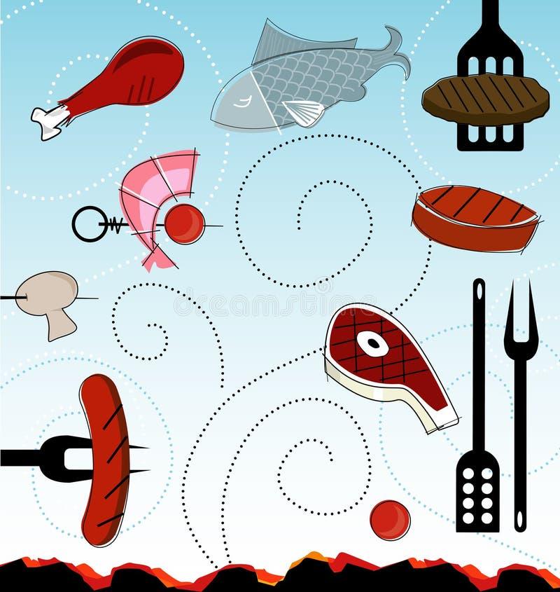 ícones do BBQ do Retro-estilo (vetor) ilustração royalty free