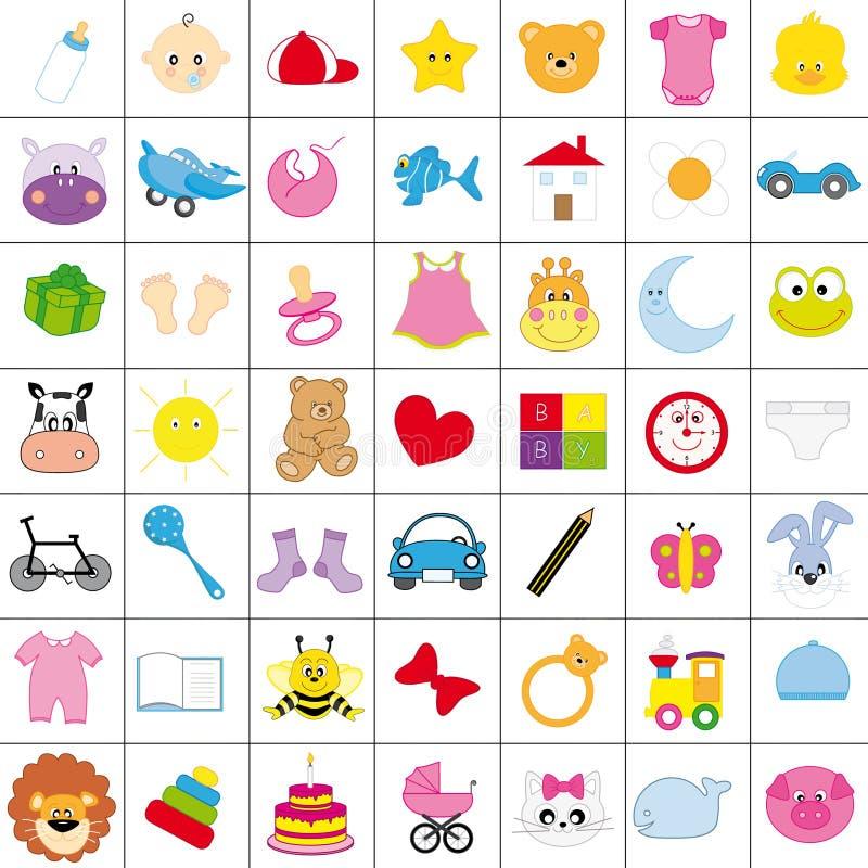 Ícones do bebê ilustração stock