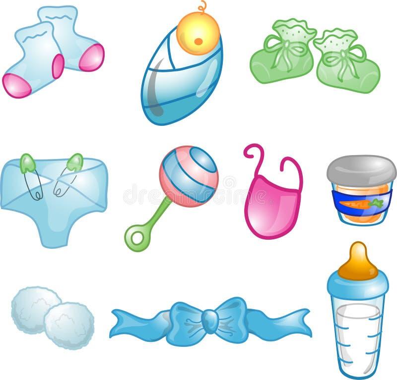 Ícones do bebê ajustados ilustração stock