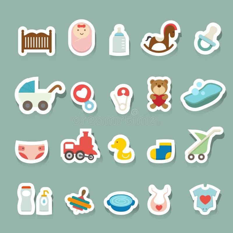 Ícones do bebê ajustados ilustração do vetor