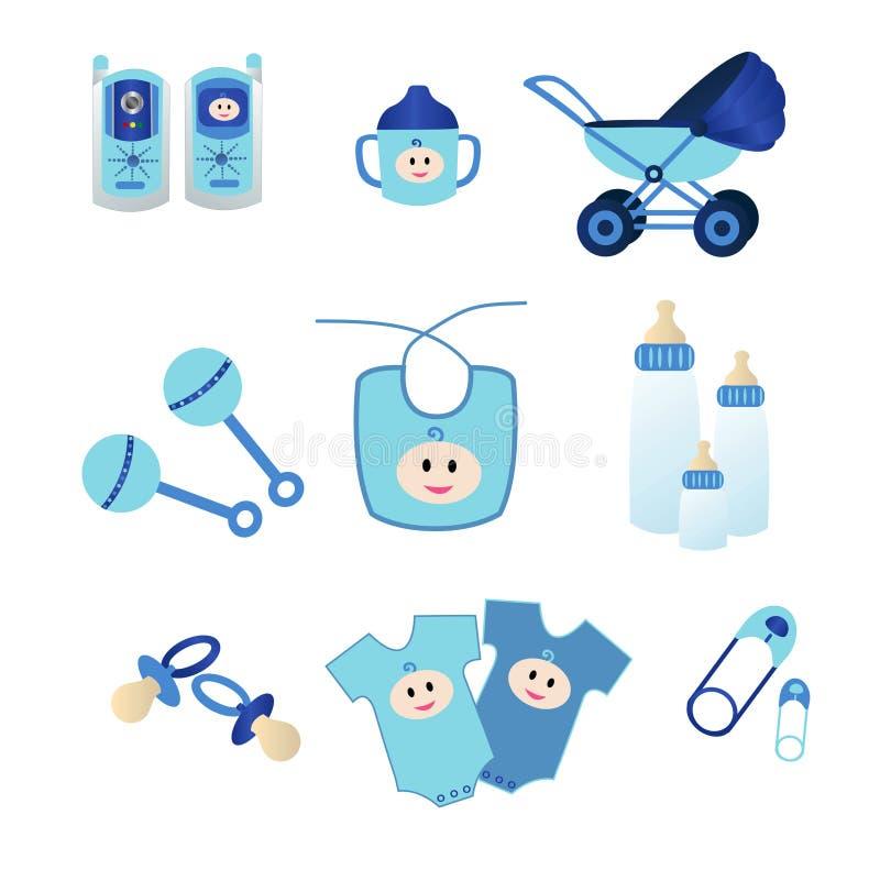Ícones do bebê azul ilustração do vetor