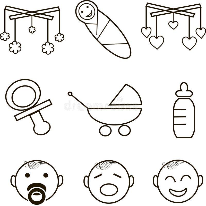 Ícones do bebê, linhas pretas finas no branco ilustração royalty free