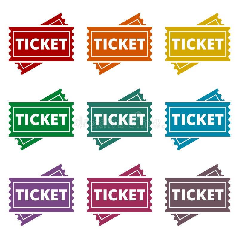Ícones do bilhete ajustados ilustração do vetor