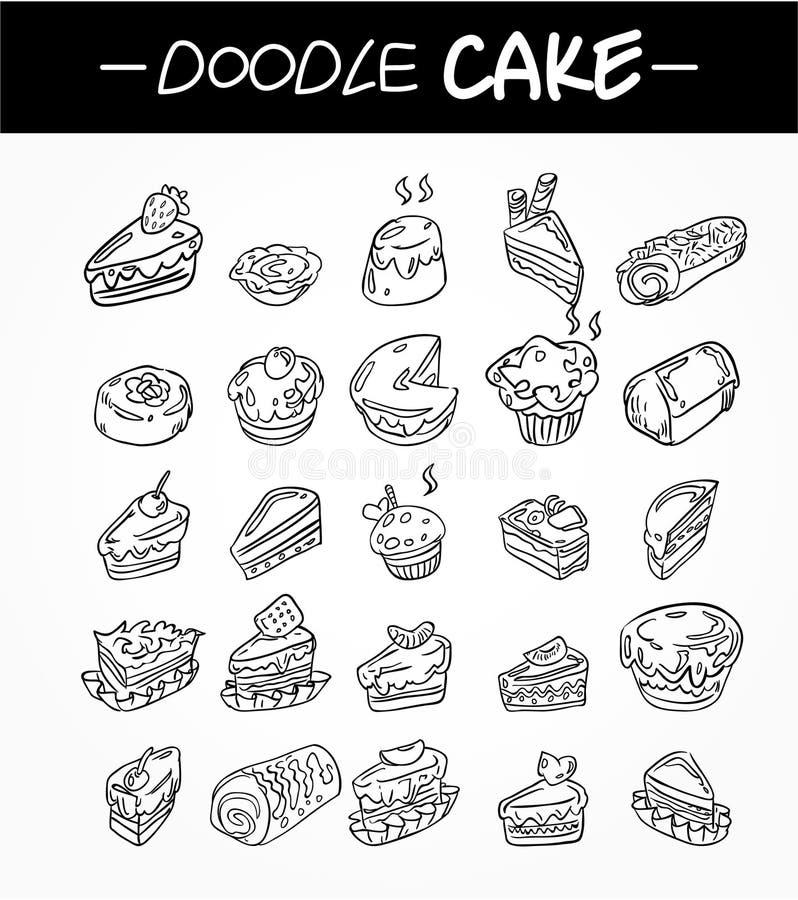Ícones do bolo dos desenhos animados da tração da mão ajustados ilustração stock