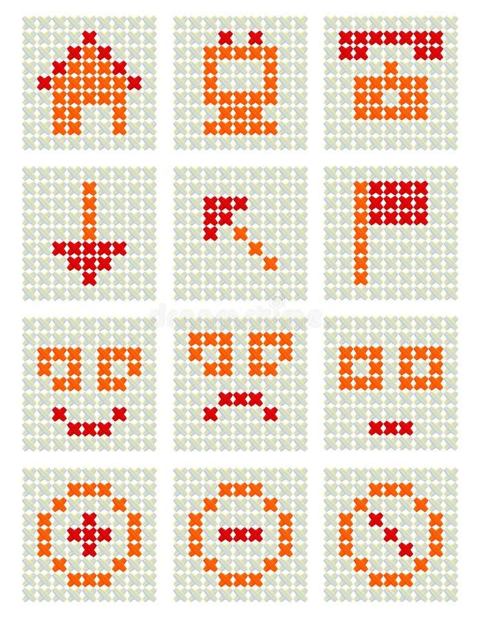 Ícones do bordado do punhal ilustração stock