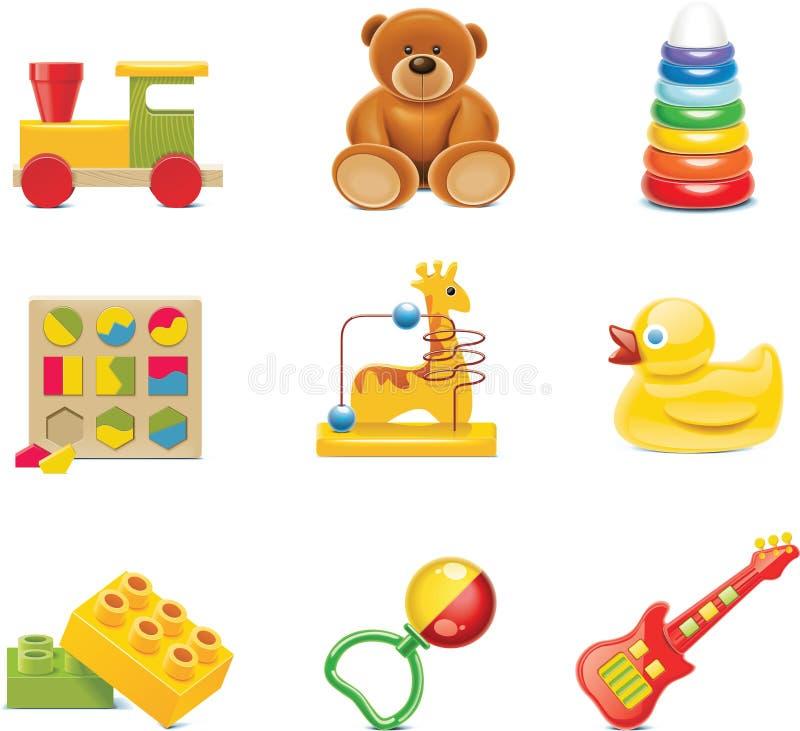 Ícones do brinquedo do vetor. Brinquedos do bebê ilustração do vetor