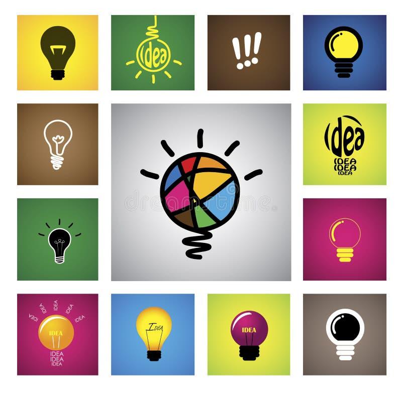 Ícones do bulbo da ideia & símbolos criativos coloridos - gra do vetor do conceito ilustração stock