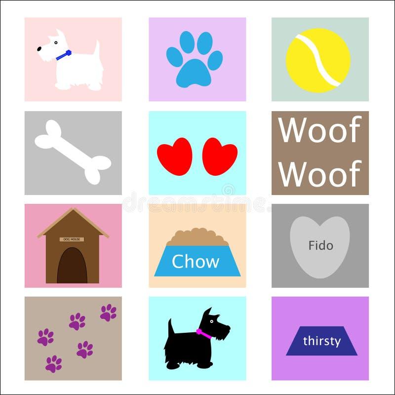 Ícones do cão ilustração stock