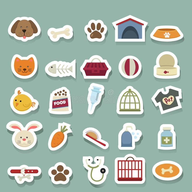 Ícones do cão ajustados ilustração do vetor