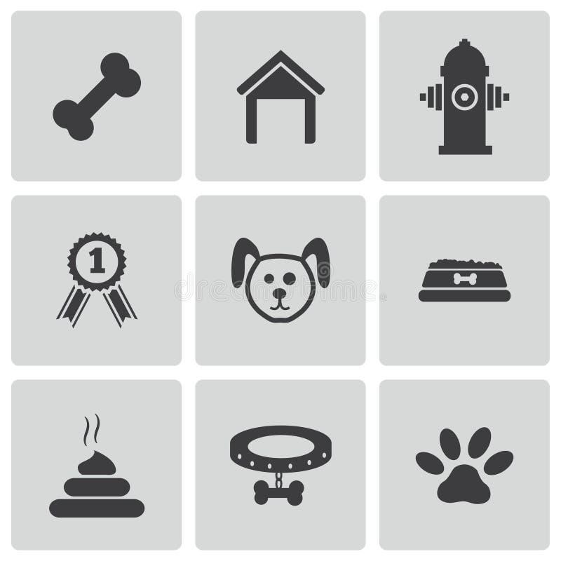 Ícones do cão preto do vetor ajustados ilustração royalty free