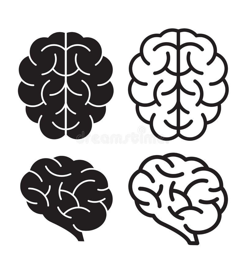 Ícones do cérebro humano do vetor ilustração royalty free