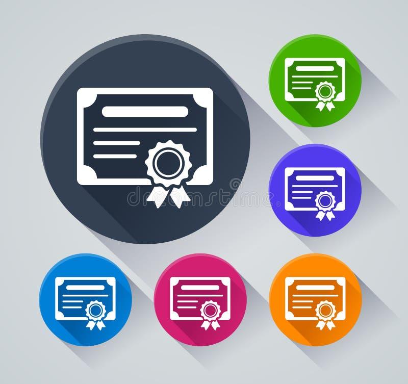 Ícones do círculo do certificado com sombra ilustração stock