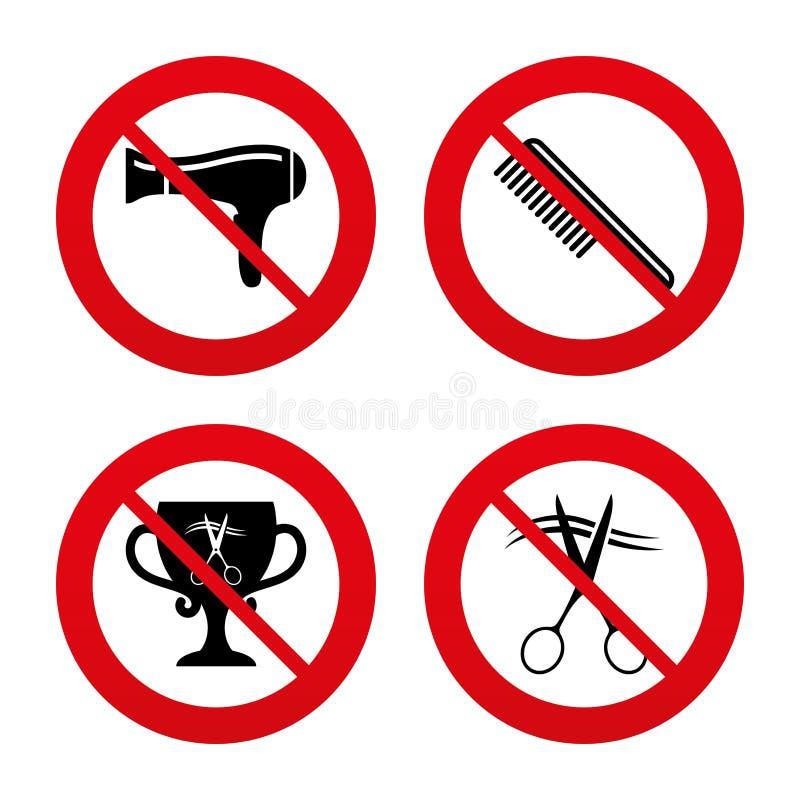 Ícones do cabeleireiro Símbolo do cabelo do corte das tesouras ilustração stock