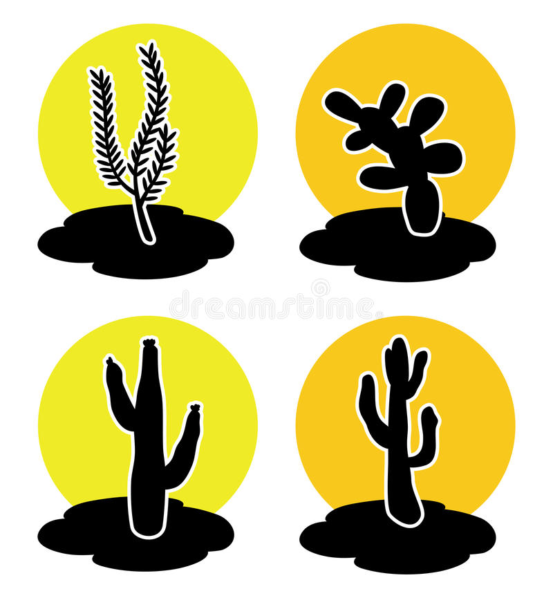 Ícones do cacto no deserto ilustração stock