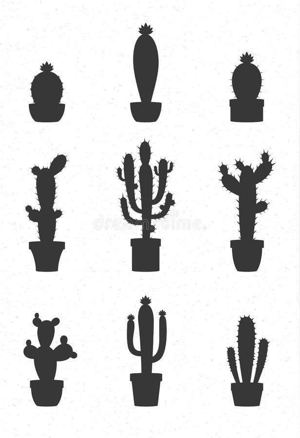 Ícones do cacto do vetor ilustração royalty free
