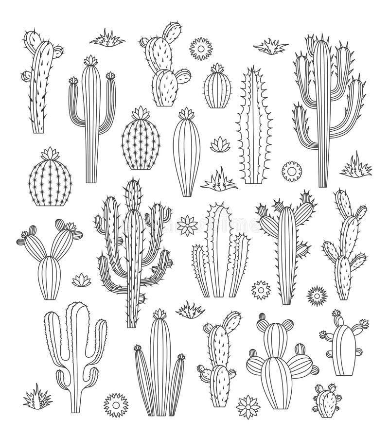 Ícones do cacto do vetor ilustração stock