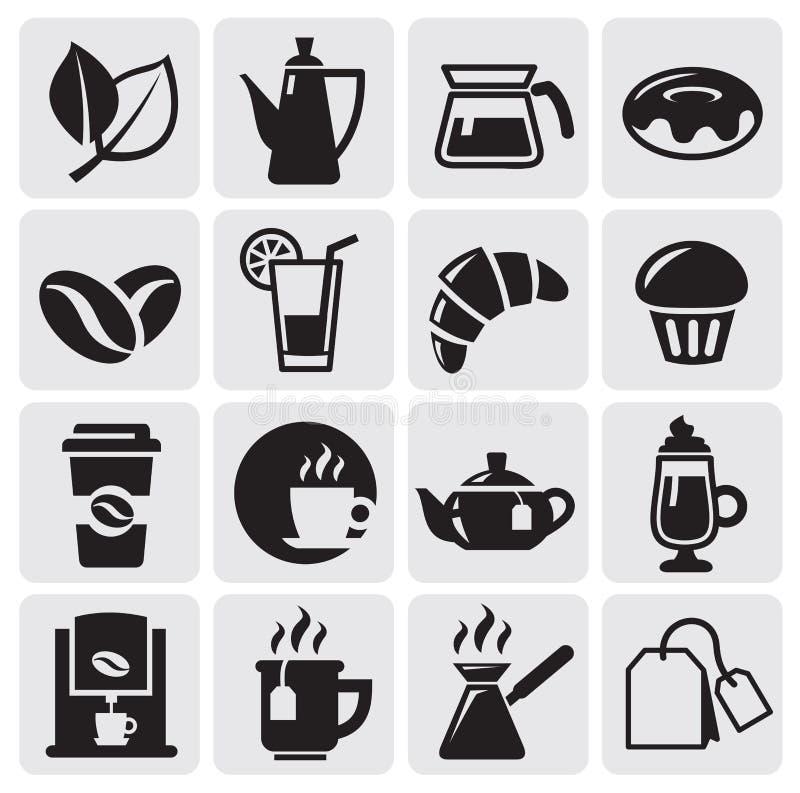 Ícones do café ilustração royalty free
