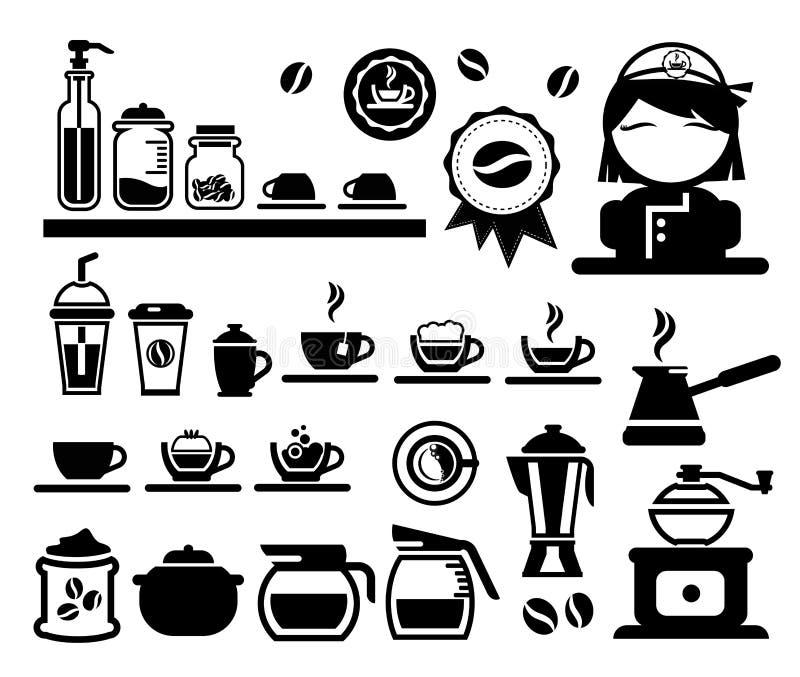 Ícones do café ajustados ilustração do vetor
