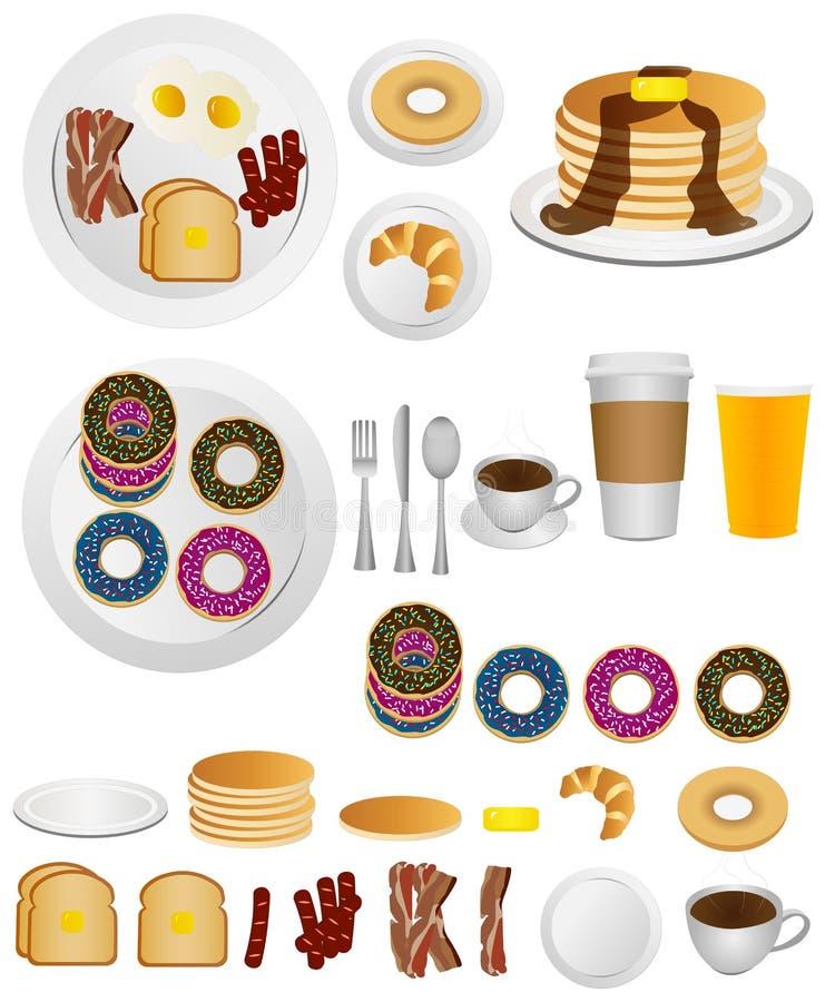 Ícones do café da manhã imagens de stock