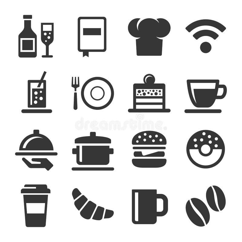Ícones do café e do restaurante ajustados no fundo branco Vetor ilustração royalty free