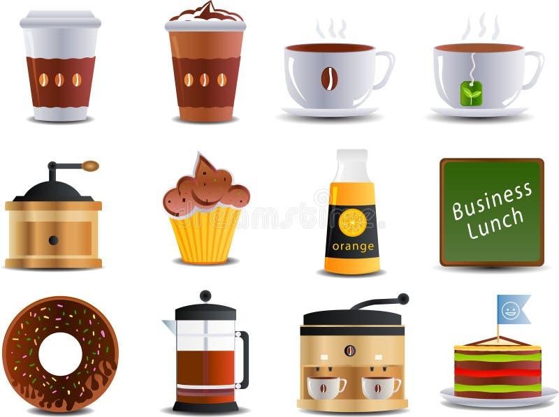 Ícones do café e dos restaurantes ilustração royalty free