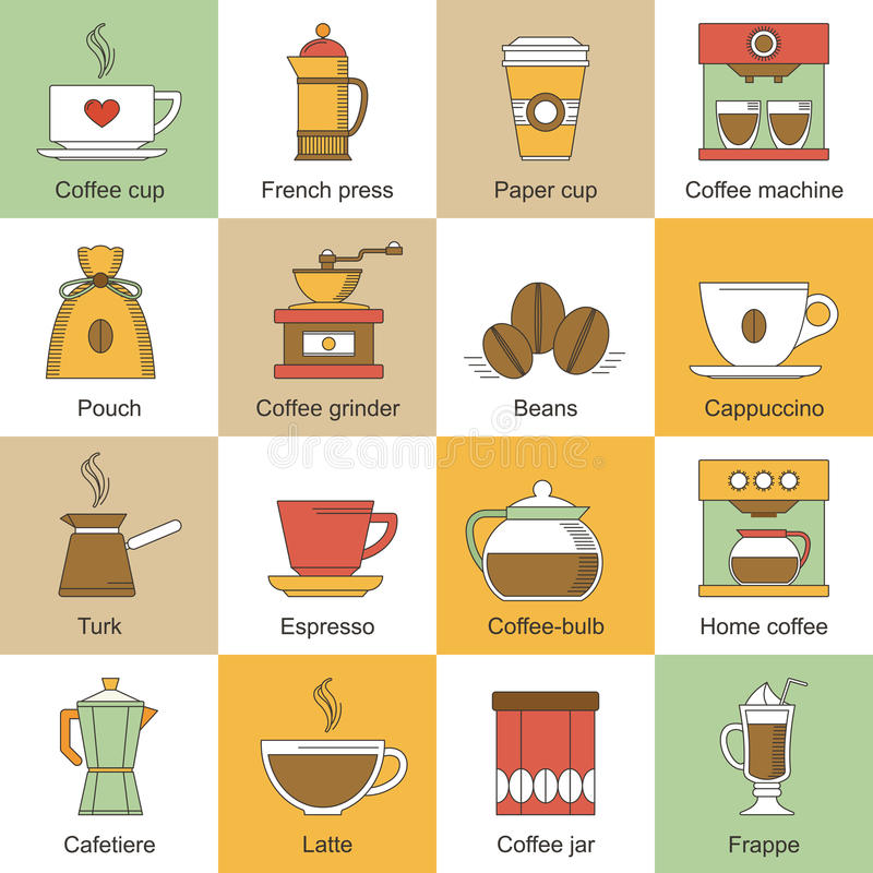 Ícones do café lisos ilustração do vetor